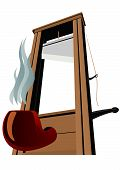 pic of guillotine  - Guillotine with a raised knife and pipe for smoking tobacco - JPG