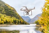 Drone uav flying in the air taking video of autumn forest foliage nature landscape in outdoors durin poster