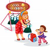 Mom And Child Buying Stuff Mothers And Children Preparing For New Academic Year Trying On And Buying poster