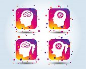 Head With Brain Icon. Male And Female Human Think Symbols. Cogwheel Gears Signs. Woman With Pigtail. poster