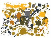Gouache Paint Stains Grunge Background Vector. Scribble Ink Splatter, Spray Blots, Mud Spot Elements poster