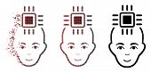 Neural Computer Interface Icon With Face In Dispersed, Dotted Halftone And Undamaged Entire Variants poster