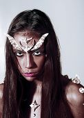 Girl Fantasy Style Makeup. Halloween Ideas Concept. Woman With Horns And Thorns Fantasy Creature. Di poster