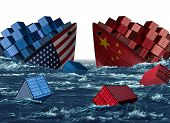 China United States Trade Trouble And Economic War Or American Tariffs And Chinese Tariff As Two Sin poster