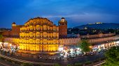 Hawa Mahal On Evening, Jaipur, Rajasthan, India. An Unesco World Heritage. Beautiful Window Architec poster