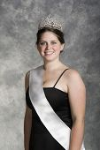 stock photo of beauty pageant  - formal portrait of teenage prom queen - JPG