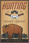 Hunting Sport Old Grunge Banner With Wild Bison Animal. Brown Buffalo Or Ox Bull Retro Poster With H poster