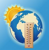 Thermometer On The Background Of The Globe. The Sun Illuminates The Earth. High Temperature On The T poster