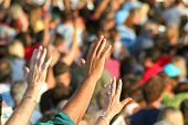 stock photo of worship  - Christian Hands Raised High Praise Reaching praising worshiping