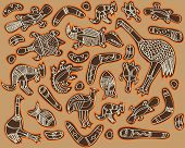 foto of didgeridoo  - animals drawings aboriginal australian style - JPG