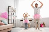 Father And Daughter In Pink Tutu Skirts Dancing Like Ballerinas poster
