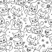 Seamless Pattern Cats Different Emotions And Situations. Vector Humor Black White Outline Cartoon Ba poster