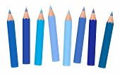 Blue Crayons - Short Pencils Loosely Arranged, Different Blues Like Azure, Aqua, Sky, Royal, Midnigh poster