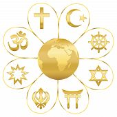 World Religions United On A Golden Flower With Planet Earth In Center. Signs Of Major Religious Grou poster