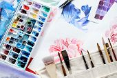 Painting Art Classes. Drawings Creation. Color Mix. Watercolor Palette And Brushes. Artist Instrumen poster