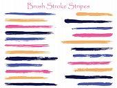 Grunge Ink Brush Stroke Stripes Vector Set, Pink Violet Horizontal Marker Or Paintbrush Lines Patch. poster