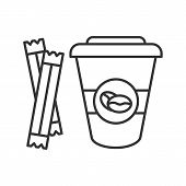 Coffee To Go With Sugar Sachets Linear Icon. Thin Line Illustration. Disposable Coffee Cup With Lid. poster