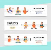 Flat Housewife Life Horizontal Banners With Cooking Shopping Ironing Cleaning Washing Affairs Make U poster