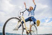 Freedom And Delight. Woman Feels Free While Enjoy Cycling. Most Satisfying Form Of Self Transportati poster