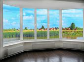 Window With View To Summer Lake With Grazing Cows. Rural View. Panorama With Cows Grazing Beyond Win poster