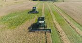 Combine Harvester At Work Harvesting Field Wheat. Aerial View Combine Harvester Mows Ripe Spikelets, poster