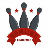 Bowling Challenge Logo. Flat Illustration Of Bowling Challenge Logo For Web poster