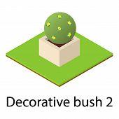 Round Bush Icon. Isometric Illustration Of Round Bush Icon For Web poster