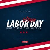Labor Day Sale Promotion, Advertising, Poster, Banner, Template With American Flag. American Labor D poster