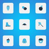 Seasonal Icons Colored Set With Coat, Honey, Apple And Other Timber Elements. Isolated  Illustration poster