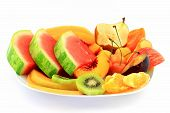 image of fruit platter  - Fruits platter served as healthy breakfast in white porcelain dish  - JPG