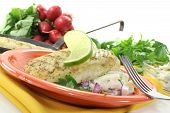 image of hake  - Hake with potato salad and slice of lime on a light background - JPG