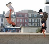 stock photo of parkour  - Two athletic young Britons engage in their passion for  - JPG