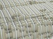 stock photo of billion  - Huge amount staked paks of money dollars - JPG
