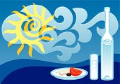 foto of ouzo  - Greek summer background illustration with ouzo bottle and glass - JPG