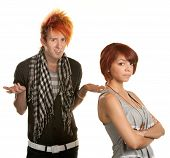 picture of gullible  - Mad young teenage couple over white background - JPG