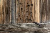 Rough, Weathered Wood And A Big, Rusty Nail poster