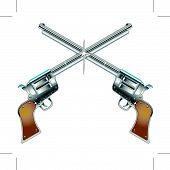 pic of crossed pistols  - Six shooter pistols or guns in cowboy western style - JPG