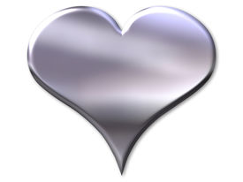 stock photo of heart shape  - silver heart with bevel on white background - JPG