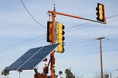 stock photo of traffic light  - temporary solar powered traffic control lights at a street intersection - JPG
