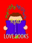 pic of bookworm  - Illustration shows child holding an open book and looking through the word  - JPG