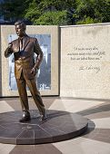 stock photo of tribute  - Bronze statue tribute to slain President Kennedy in downtown Fort Worth - JPG