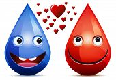 Water Drop And Drop Of Blood Love