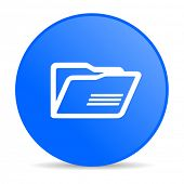 folder blue circle web glossy icon