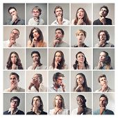stock photo of diversity  - group of diverse people who think to find a solution - JPG