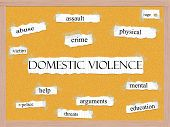 stock photo of pegboard  - Domestic Violence Corkboard Word Concept with great terms such as abuse crime victim help police and more - JPG