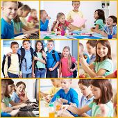 Collage of smart and friendly pupils in school