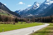 stock photo of engadine  - Road and mountain in Switzerland - JPG