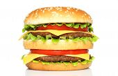 foto of hamburger  - Big hamburger on a white background close - JPG