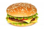 stock photo of burger  - Big hamburger on a white background close - JPG