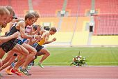MOSCOW - JUN 11: Start of race at Grand Sports Arena of Luzhniki Olympic Complex during Internationa